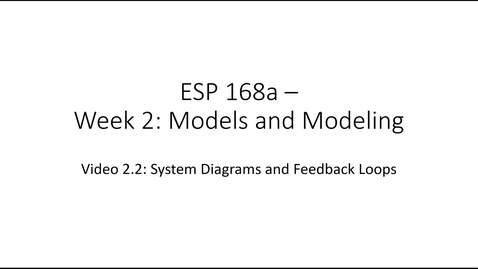 Thumbnail for entry ESP 168a: Video 2.2 - Models and Modeling 2