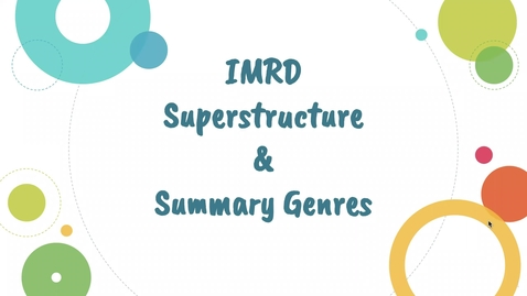 Thumbnail for entry IMRD and Summary Genres (UWP 7)