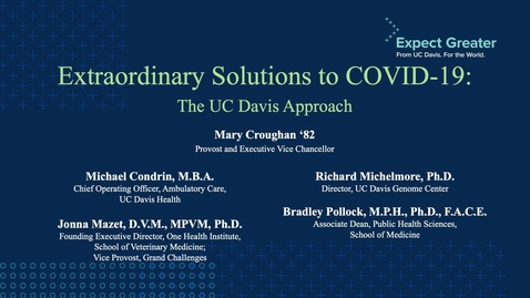 Thumbnail for entry Distinctly UC Davis: Innovative Solutions to the COVID-19 Pandemic