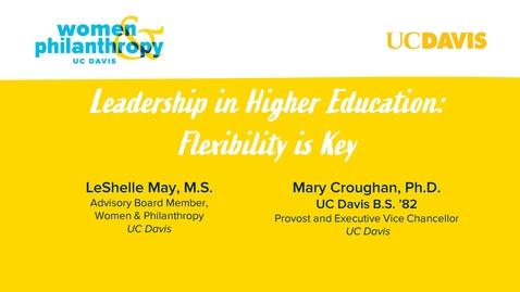 Thumbnail for entry Women & Philanthropy Speaker Series Event - Leadership in Higher Education: Flexibility is Key