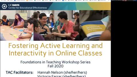 Thumbnail for entry CEE Graduate Student Workshop: Fostering Active Learning and Interactivity in Online Classes
