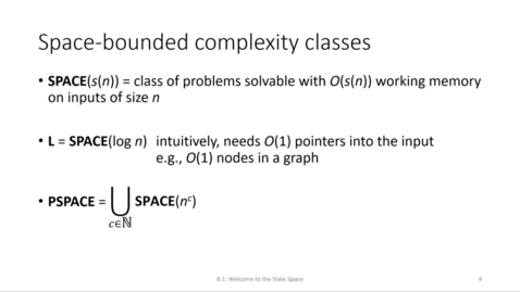 Thumbnail for entry ECS 220 8a:8.1-2 space-bounded complexity classes L and PSPACE