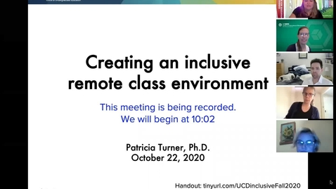 Thumbnail for entry CEE Faculty Workshop - Creating an Inclusive Remote Class Environment