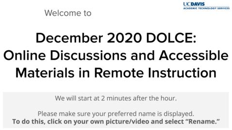 Thumbnail for entry DOLCE - December 11, 2020