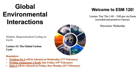 Thumbnail for entry Lecture 13 - The Global Carbon Cycle - ESM 120 (Winter 2021)
