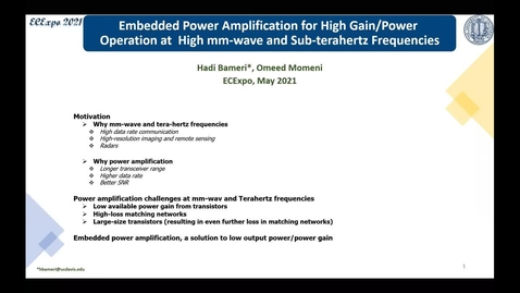 Thumbnail for entry High Gain/ Power Amplifier Design At High Mm-wave And Terahertz Frequencies: Embedded Power Amplification