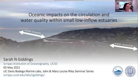 """Thumbnail for entry BML - Dr. Sarah Giddings: """"Oceanic impacts on the circulation and water quality within small low-inflow estuaries"""""""