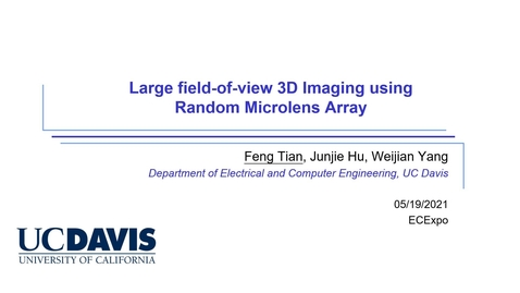 Thumbnail for entry Large Field-of-view 3D Imaging Using Random Microlens Array