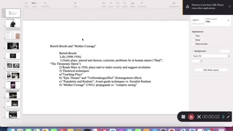 """Thumbnail for entry His 147C, Lecture 7: Brecht and """"Mother Courage"""""""