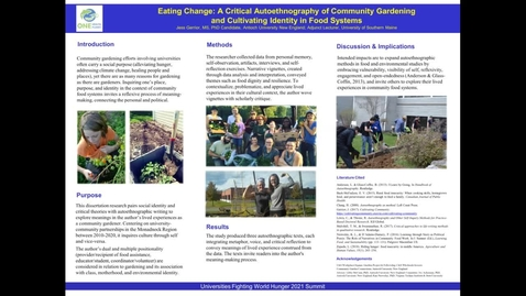 Thumbnail for entry UFWH 2021 - Jess Gerrior_Eating Change_ A Critical Autoethnography of Community Gardening and Cultivating Identity in Food Systems