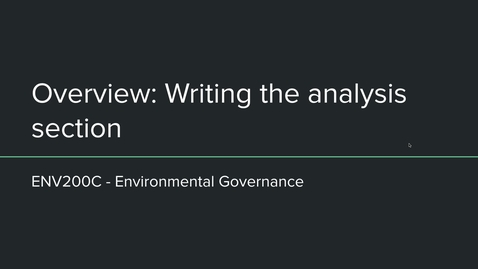 Thumbnail for entry ENV200C - Overview of writing the analysis section