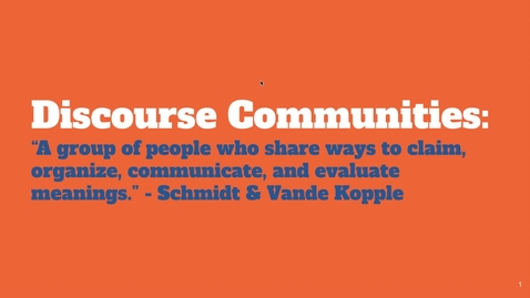 Thumbnail for entry What are Discourse Communities?