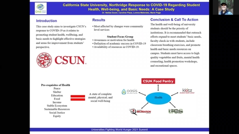 Thumbnail for entry UFWH 2021 - Caroline Plaza_California State University, Northridge Response to COVID-19 Regarding Student Health, Well-being, and Basic Needs_ A Case Study