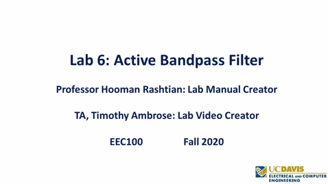 Thumbnail for entry EEC 100 Lab 06 - Active Bandpass Filter