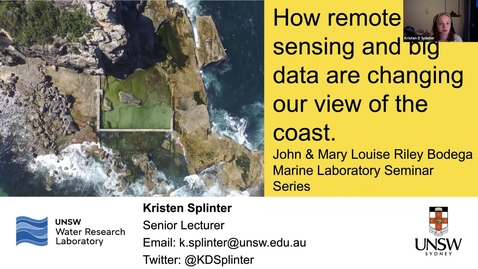 """Thumbnail for entry BML - Dr. Kristen D Splinter: """"How remote sensing and big data are changing our view of the coast"""""""