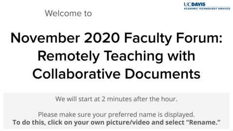 Thumbnail for entry Faculty Forum - November 20, 2020