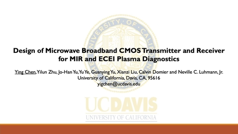 Thumbnail for entry Design of microwave broadband CMOS transmitter and receiver circuits for MIR and ECEI plasma diagnostics