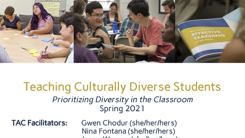 Thumbnail for entry CEE Graduate Student Workshops - Teaching Culturally Diverse Students