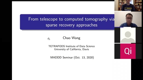 Thumbnail for entry Chao Wang: From telescope to computed tomography via sparse recovery approaches