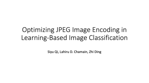 Thumbnail for entry End-to-End Optimization of JPEG-Based Deep Learning Process for Image Classification