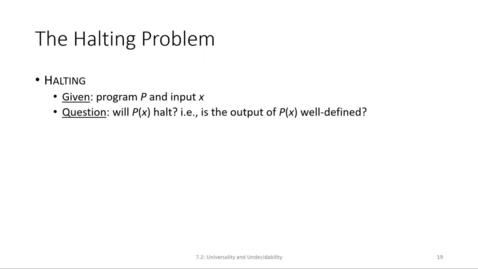 Thumbnail for entry ECS 220 6b:7.2-1 halting problem