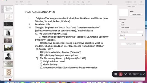 Thumbnail for entry His 147B Lecture 9: Durkheim