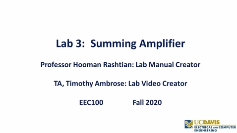 Thumbnail for entry EEC 100  Lab 3 - Summing Amplifier