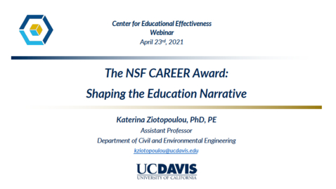 Thumbnail for entry CEE Faculty Workshop - NSF CAREER Award Shaping the education narrative