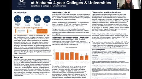 Thumbnail for entry UFWH 2021 - Sara Rains_Assessing Food Insecurity Resources and Culture at Alabama 4-year Colleges and Universities