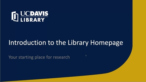 Thumbnail for entry Intro to Library Homepage