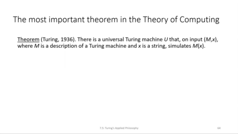 Thumbnail for entry ECS 220 7c:7.5-2 existence of universal machines and the Church-Turing thesis