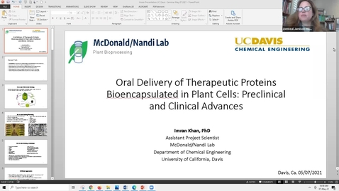 """Thumbnail for entry Dr. Imran Khan, """"Oral Delivery of Therapeutic Proteins Bioencapsulated in Plant Cells: Preclinical and Clinical Advances"""""""