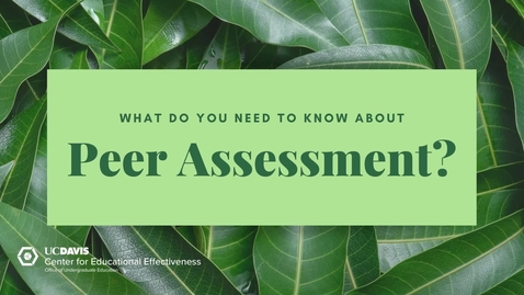 Thumbnail for entry What do you need to know about Peer Assessment?