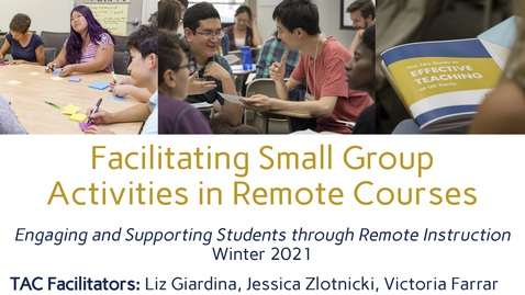 Thumbnail for entry CEE Graduate Student Workshop - Facilitating Small Group Activities in Remote Courses