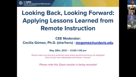 Thumbnail for entry CEE First Faculty Panel: Looking Backward, Looking Forward: Applying Lessons Learned from Remote Instruction