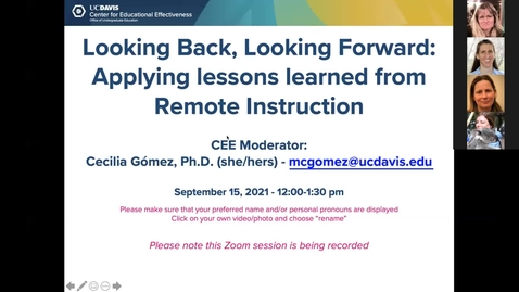Thumbnail for entry CEE Second Faculty Panel: Looking Backward, Looking Forward: Applying Lessons Learned from Remote Instruction