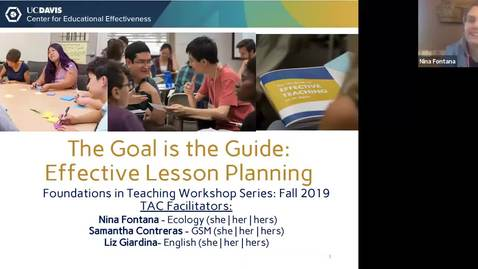 Thumbnail for entry CEE Graduate Student Workshop - The Goal is the Guide: Effective Lesson Planning