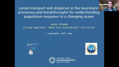 """Thumbnail for entry BML - Jesús Pineda: """"Larval transport and dispersal in the nearshore: processes and breakthroughs for understanding population response to a changing ocean"""""""