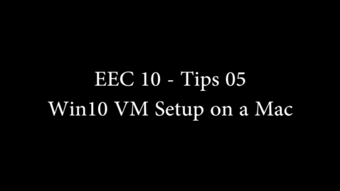 Thumbnail for entry EEC 10 Tips 05 - Creating the VM on Mac