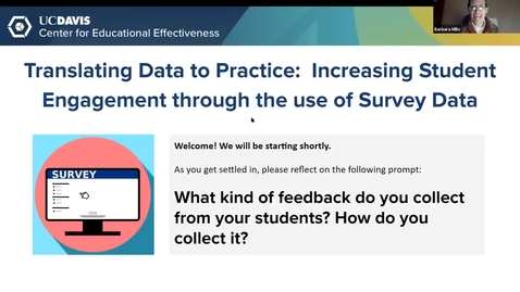Thumbnail for entry CEE Faculty Workshop - Translating Data to Practice: Increasing Student Engagement through the use of Survey Data