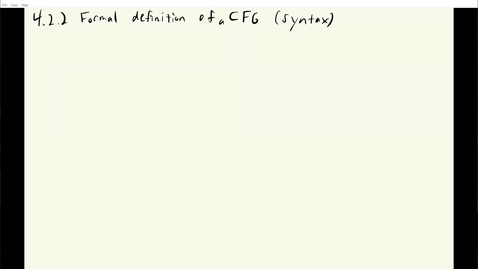Thumbnail for entry ECS 120 2b:2 formal definition of CFG syntax