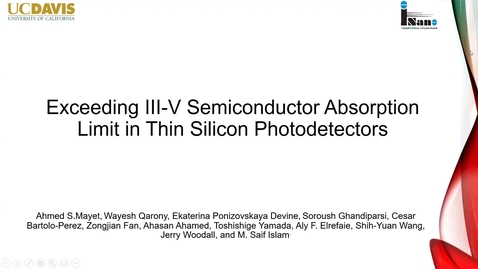 Thumbnail for entry Exceeding III-V semiconductor absorption limit in thin silicon photodetectors