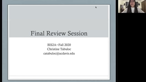 Thumbnail for entry Christine's Final Review Session