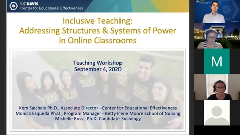 Thumbnail for entry CEE Faculty Workshop - Inclusive Teaching: Addressing Structures and Systems of Power in Online Classrooms