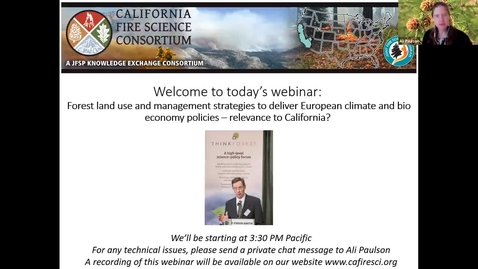 Thumbnail for entry FFERAL/CFSC Webinar: Dr. Peter Freer-Smith: Forest land use and management strategies to deliver European climate and bio economy policies – relevance to California?
