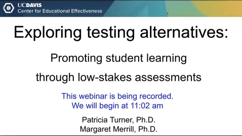 Thumbnail for entry CEE Faculty Workshop - Exploring Testing Alternatives: Promoting student learning through low-stakes assessments
