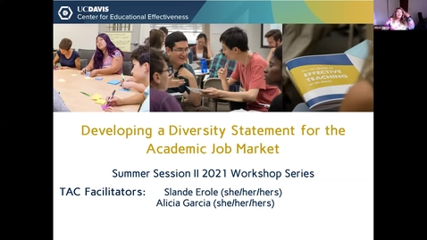 Thumbnail for entry CEE Graduate Student Workshop - Developing a Diversity Statement for Academic Job Applications