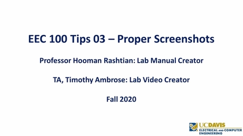 Thumbnail for entry EEC 100 Tips 03 - Proper Screenshots