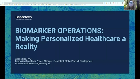 """Thumbnail for entry Dr. Allison Hsia, """"Biomarker Operations: Making Personalized Healthcare a Reality"""""""