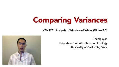 Thumbnail for entry VEN123L Video 3.5 - Comparing Variances